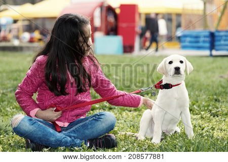 Cute Puppy Preteen Girl Park Sitting Dog