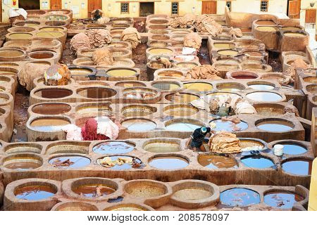 Chouwara Traditional Tannery In Fez, Morocco