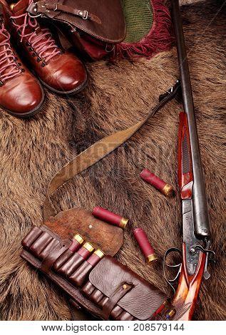 Hunting Double Barrel Vintage Shotgun, Hunters Bag,leather Bandolier And Leather Boots Mmunition, On