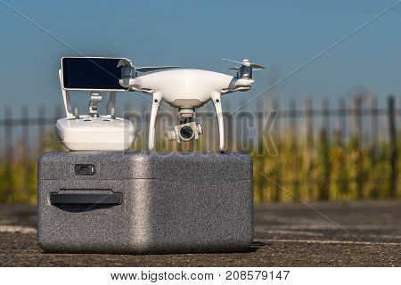 Moscow, Russia - 24 September, 2017: A Phantom 4 Pro Drone In Flight, Selective Focus On The Drone.