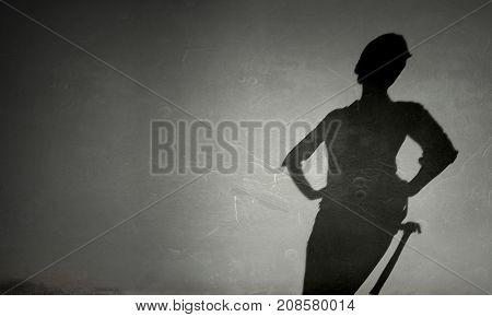 Engineer woman shadow. Mixed media