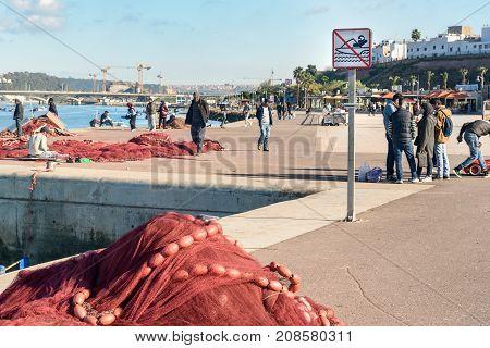 Fishing Net On Harbor. Rabat. Morocco