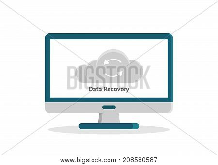 Data recovery, data backup, restoration and security flat design vector illustration with icons