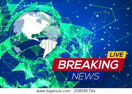 Breaking News Live with World Map on Blue Glowing Plexus Structure Background. Business Technology News Background with Earth Planet. Abstract Geometric Network with Particles. Vector Illustration.