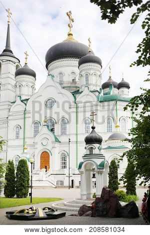 Annunciation Cathedral (Orthodox Church) and monument to defenders of Fatherland in Voronezh, Russia