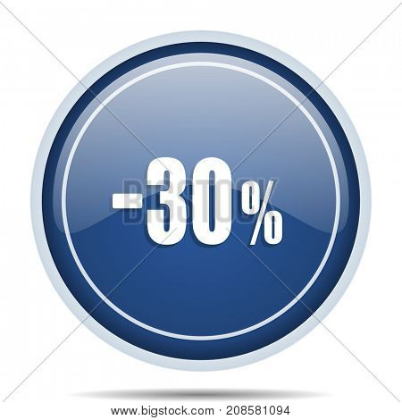 30 percent sale retail blue round web icon. Circle isolated internet button for webdesign and smartphone applications.