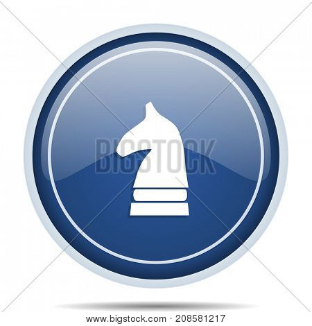 Chess horse blue round web icon. Circle isolated internet button for webdesign and smartphone applications.