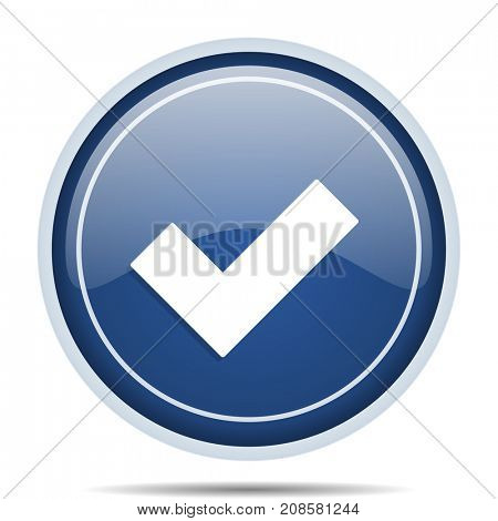 Accept blue round web icon. Circle isolated internet button for webdesign and smartphone applications.
