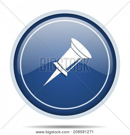 Pin blue round web icon. Circle isolated internet button for webdesign and smartphone applications.