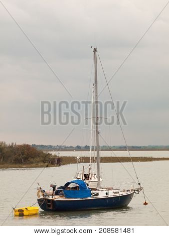 Close Up Portrait Of Private Moored Boat In River