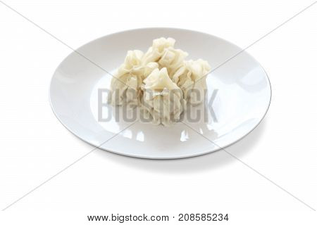 White skin wonton on a white plate dimsum