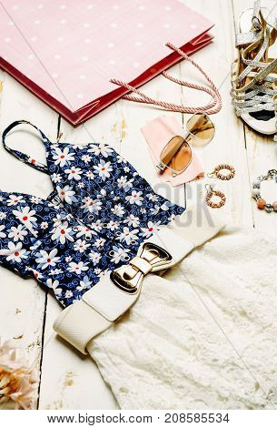 Fashion Summer girl clothes Set Accessories. summer Outfit.Trendy fashion Sunglasses flowers. Summer lady Essentials. Creative Design. Fashion summer Concept