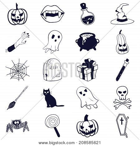 Vector stock monochrome doodle style Halloween icons