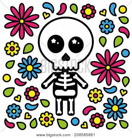 Cute skeleton character day of the dead flowers background vector