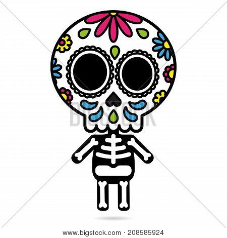 Sugar skull character isolated day of the dead concept vector