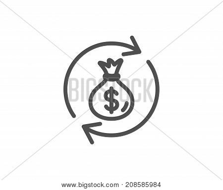 Cash Exchange Line Icon. Dollar Money Bag.