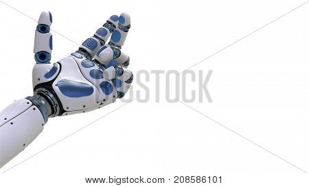 Robot Arm.Robotic hand in motion on futuristic background. 3d rendering