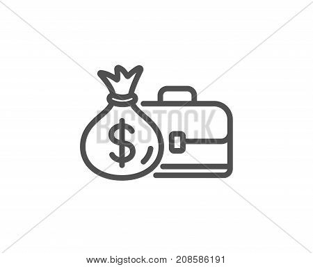 Business Case Line Icon. Portfolio And Salary.