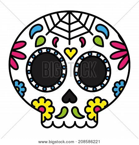 Day of the dead sugar skull colorful floral vector