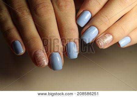 Manicure Design Lines, Blue Nails