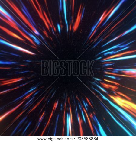 Wormhole Right In Time And Space, Clouds And Millions Of Stars. Acceleration Directly Through This S