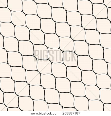 Vector seamless pattern, thin diagonal wavy lines. Texture of mesh, fishnet, lace, weaving, smooth grid. Subtle monochrome geometric background. Design for prints, fabric, cloth, textile, home, decor. Mesh pattern. Lines pattern. Lattice pattern.