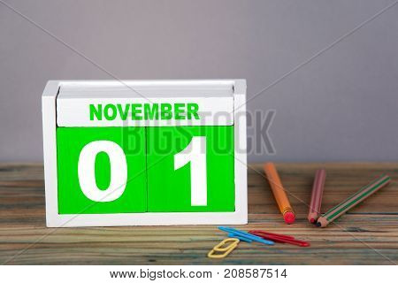 November 1. close-up wooden calendar. Time planning and business background.