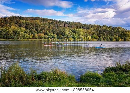 Riverbank Of Vah River In Piestany (slovakia) – Kayakers Training