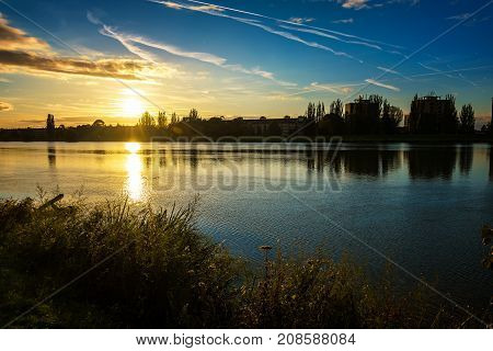 Autumn Sunset On Riverbank Of Vah River In Piestany (slovakia)