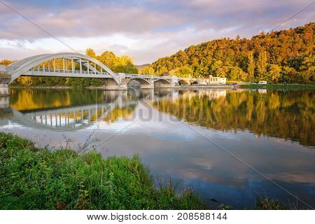 Bridge In Piestany (slovakia), Dark Sky + Colorful Autumn