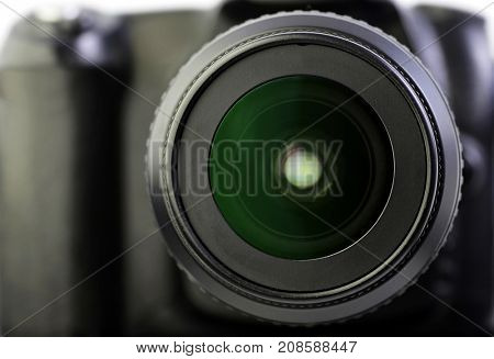 Close up of camera lens.