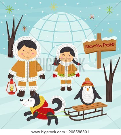 Eskimo boy and girl with arctic animals - vector illustration, eps