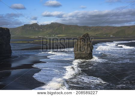 Landscape Of Dyrholaey Cape, Volcanic Sand Beach, South Iceland