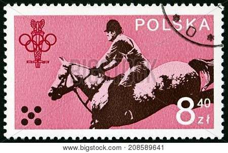 POLAND - CIRCA 1979: a stamp printed in the Poland shows Equestrian 1980 Olympic Games circa 1979