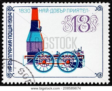 BULGARIA - CIRCA 1984: a stamp printed in Bulgaria shows Best Friend of Charleston Locomotive from 1830 circa 1984