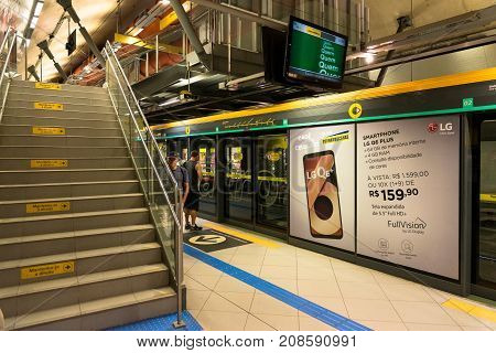 SAO PAULO BRAZIL - OCTOBER 12 2017: Horizontal picture of the stairs inside the metro station Paulista located in the city of Sao Paulo Brazil.