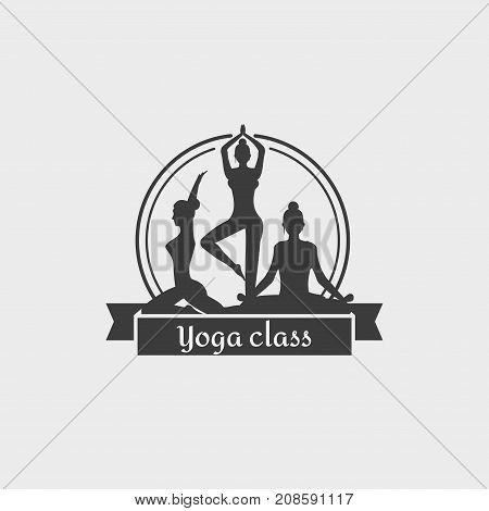Yoga Class Logo. Design symbol with woman doing different yoga positions. This badge template can be used for social network and web advertising or brand promotion.