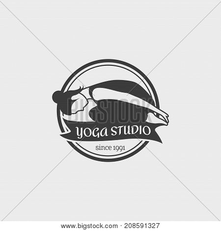 Yoga Studio Logo. Design badge template with girl practicing yoga. This monochrome symbol can be used for social network and web advertising or brand promotion.