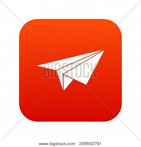 Paper plane icon digital red for any design isolated on white vector illustration