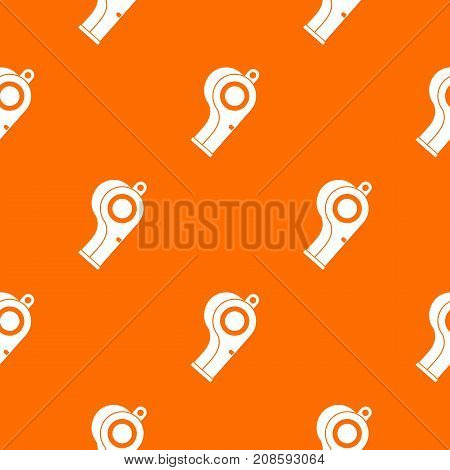 Sport whistle pattern repeat seamless in orange color for any design. Vector geometric illustration