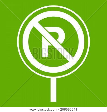 No parking sign icon white isolated on green background. Vector illustration