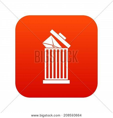 Envelope in trash bin icon digital red for any design isolated on white vector illustration