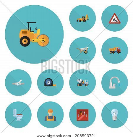 Set Of Construction Flat Icons Symbols Also Includes Bulb, Toolkit, Restroom Objects.  Flat Icons Toolkit, Handcart, Steamroller Vector Elements.