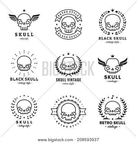 Skulls outline black logo vector set. Vintage design. Part one.