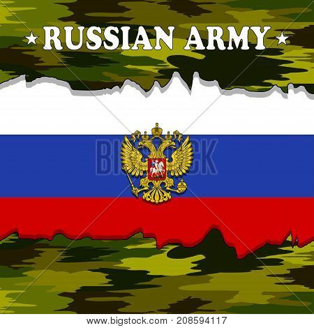 Illustration of the Russian flag as a symbol of the Russian military force