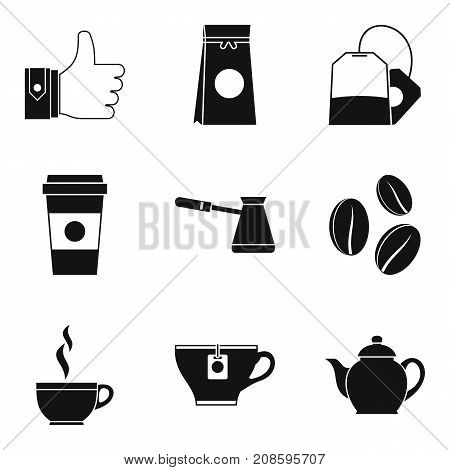 Ground coffee icons set. Simple set of 9 ground coffee vector icons for web isolated on white background