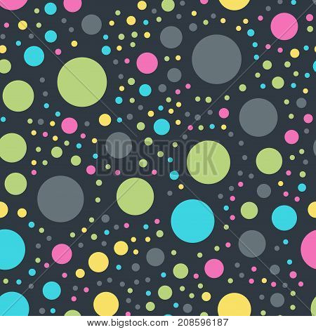 Colorful Polka Dots Seamless Pattern On Black 10 Background. Lovely Classic Colorful Polka Dots Text