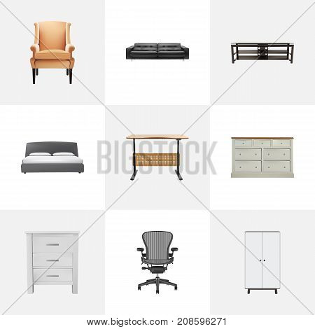 Realistic Furniture, Worktop, Cupboard And Other Vector Elements