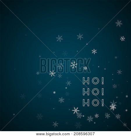 Ho-ho-ho Greeting Card. Sparse Snowfall Background. Sparse Snowfall On Blue Background. Awesome Vect