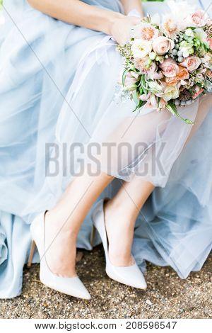 beautiful modern wedding bouquet in bride hands